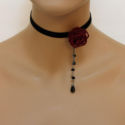Dainty Black Velvet Choker Red Rose