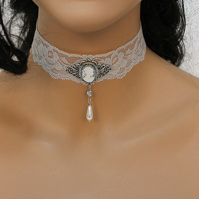 Dainty Grey Lace Cameo Victorian Choker