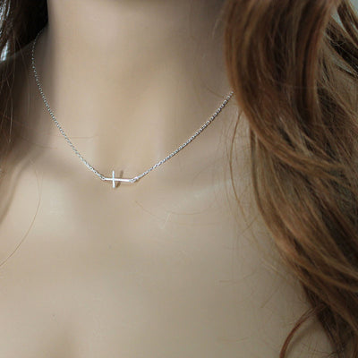Dainty Sterling Silver Sideways Cross Necklace
