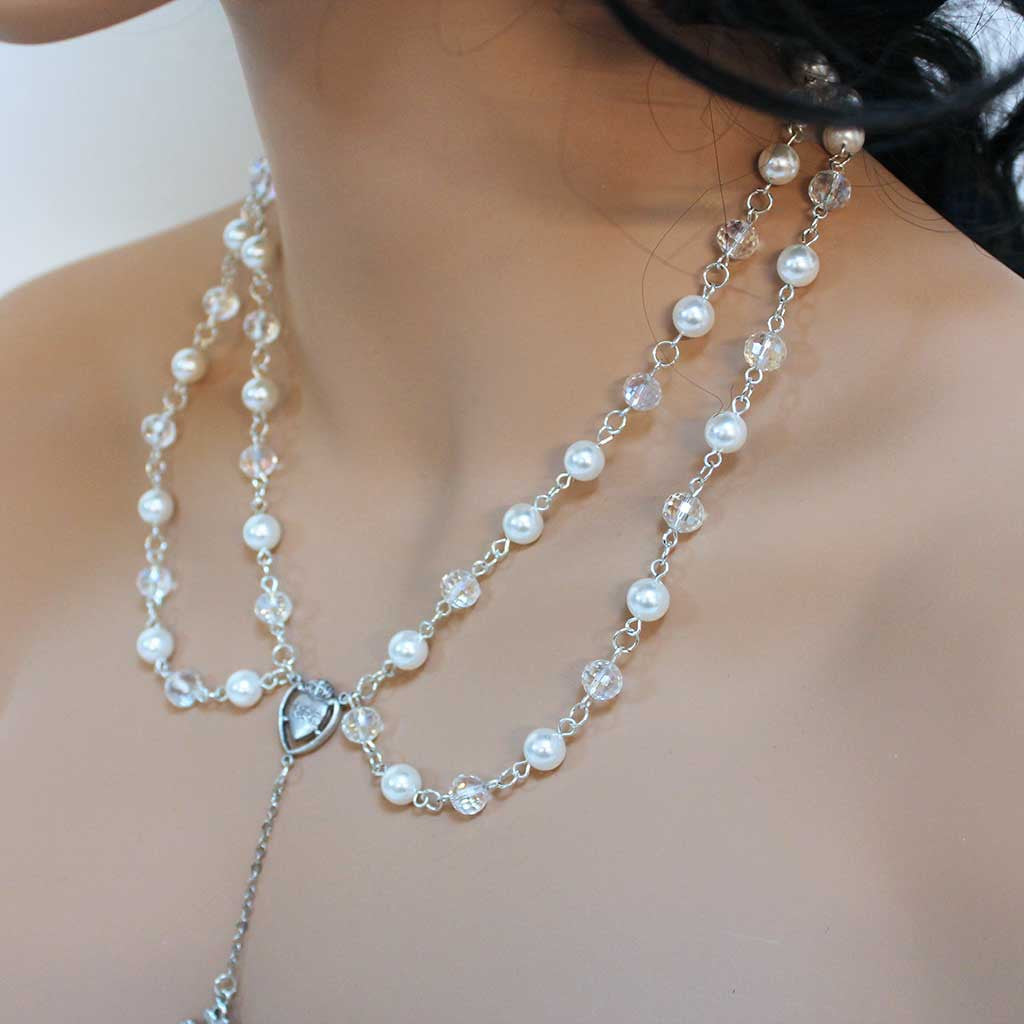 Double Strand Pearl Rosary Necklace Collar