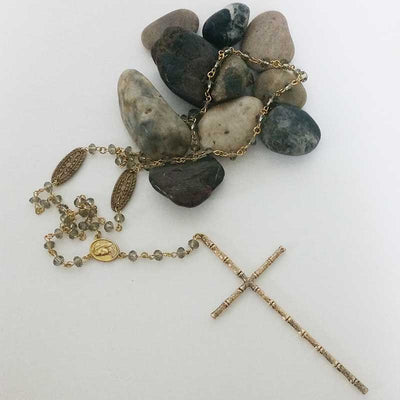 Gold Rosary Necklace with Extra Large Cross