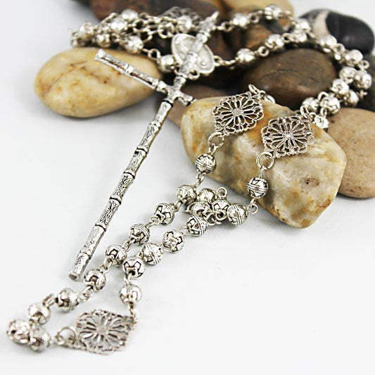 Extra Large Cross Long Silver Bead Rosary Necklace
