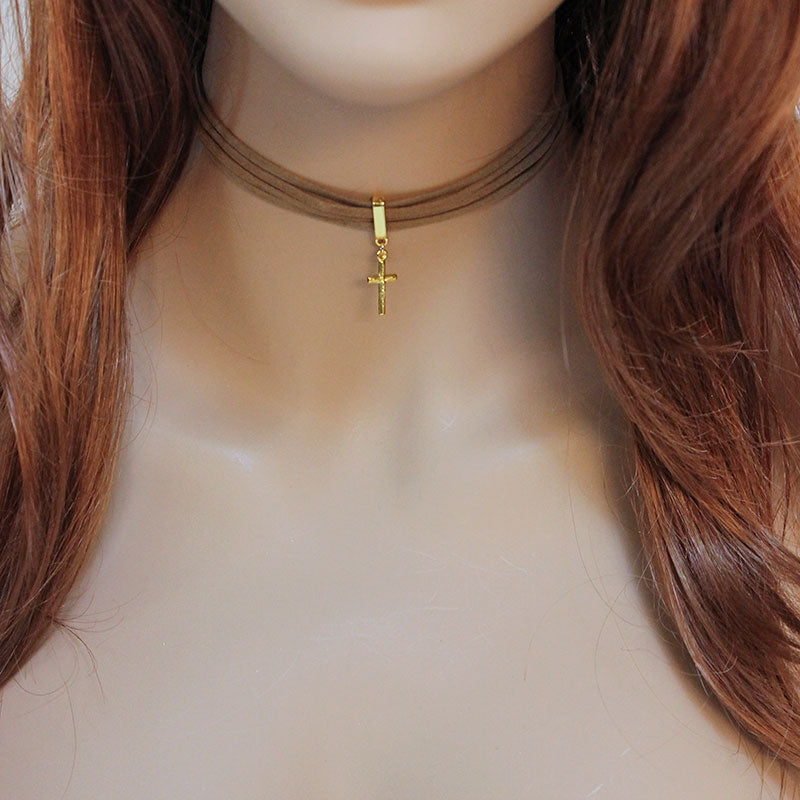 Brown Suede Gold Cross Pendant Choker