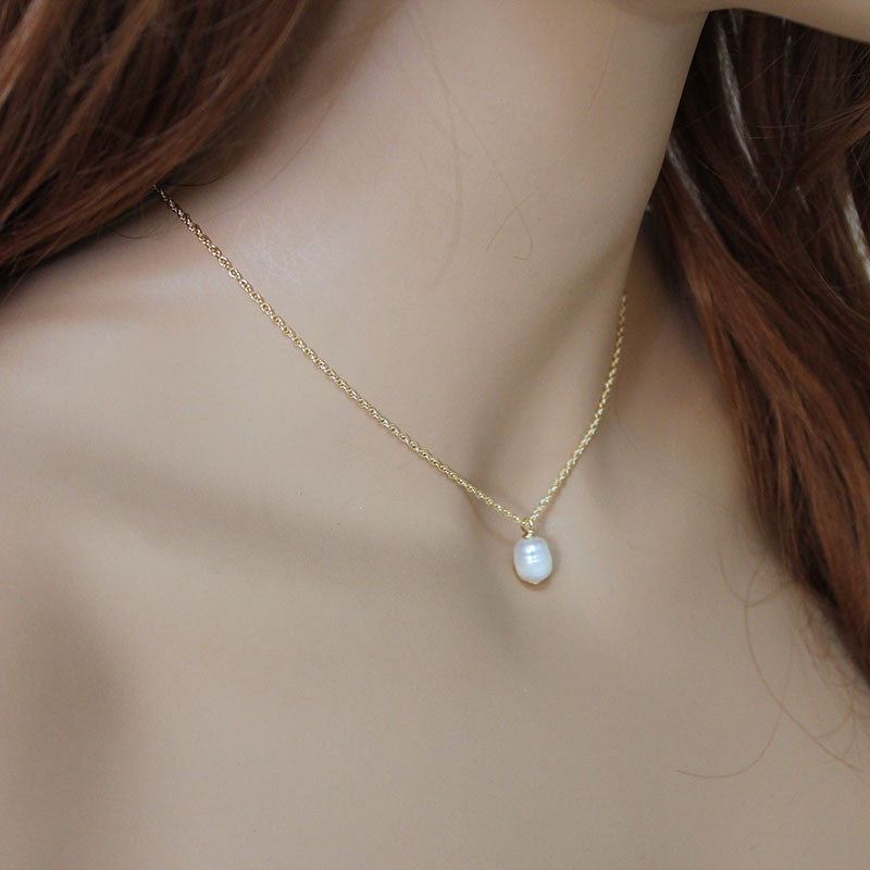 Dainty Single Pearl Gold Necklace