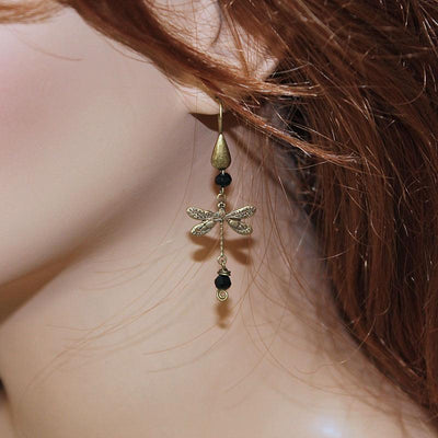 Black Bead Dragonfly Earrings