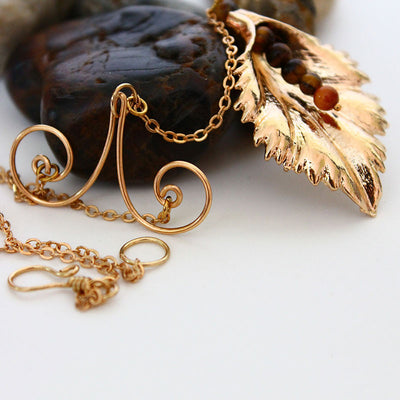 Gold Leaf Y Necklace