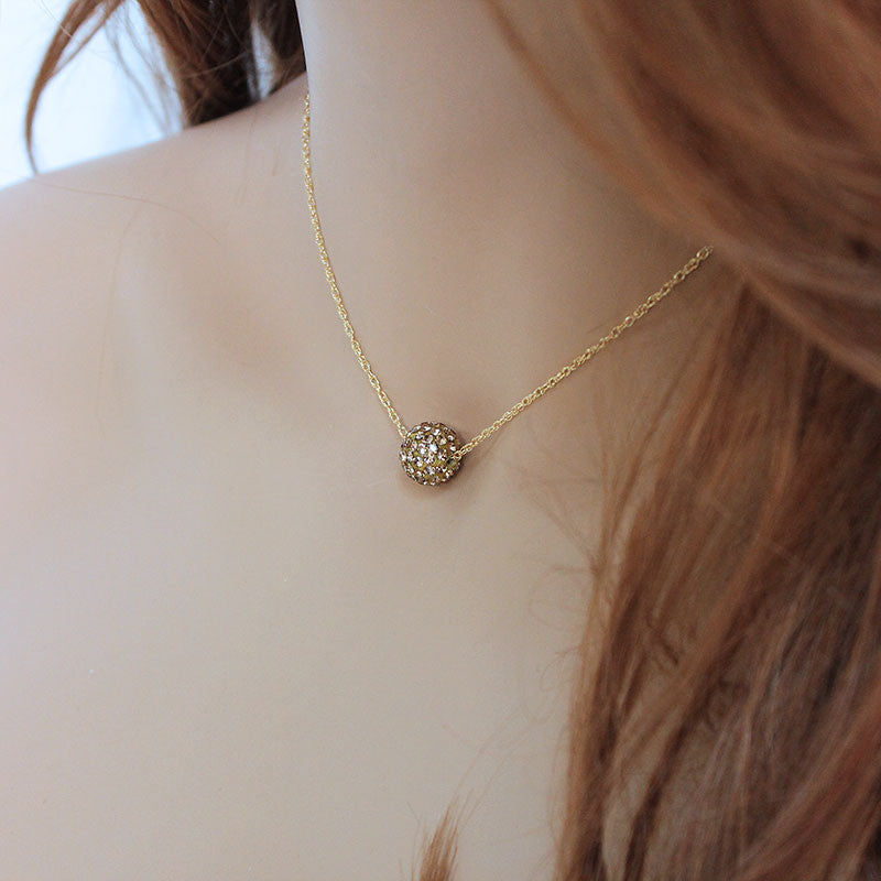 Dainty Gold Pave Crystal Ball Necklace