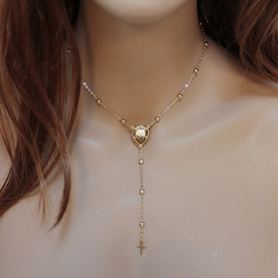 gold sacred heart rosary necklace