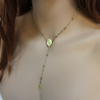 Gold Satellite Chain Rosary Necklace