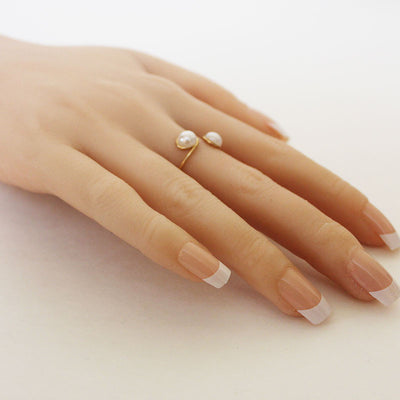 Stackable Double Pearl Adjustable Wire Ring