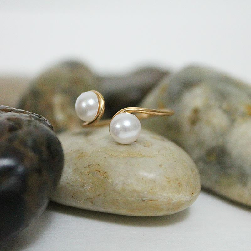 Double Pearl Adjustable Bronze Wire Ring