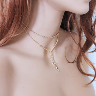 Dainty Gold Cross Lariat Necklace
