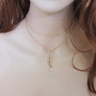 Dainty Cross Lariat Necklace