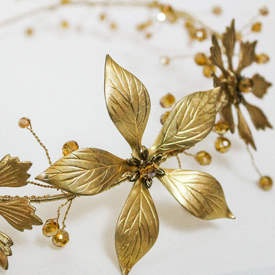 Gold Flower Headpiece, Bridal Necklace