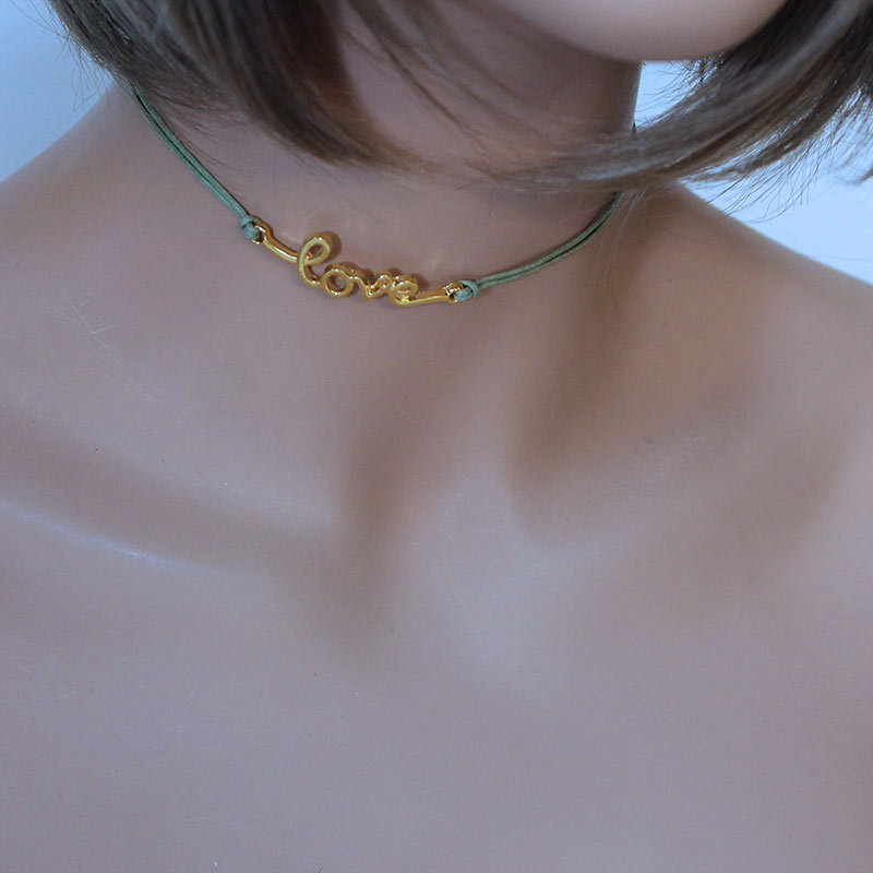 Green Cord 'Love' Choker Necklace