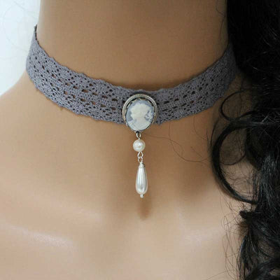Victorian Lace Cameo Choker Necklace
