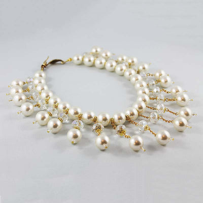 Large Bridal Pearl Bib Necklace