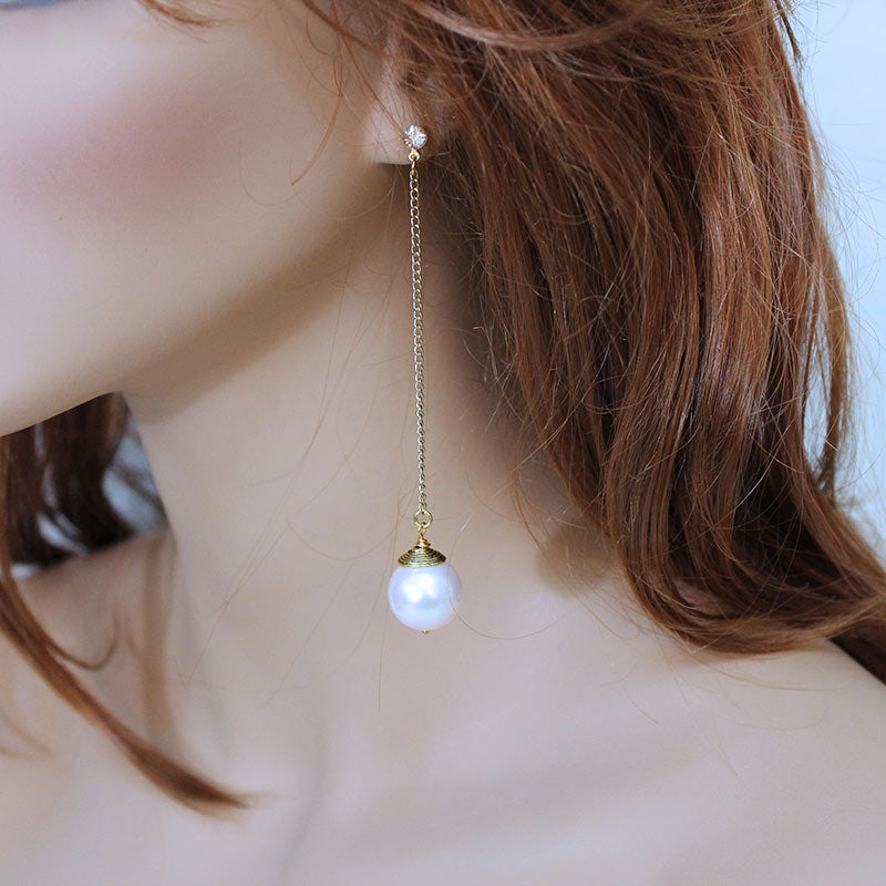 Large Pearl Dangle Earrings