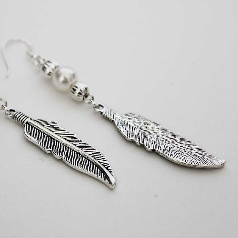 Boho Long Pearl Feather Dangle Earrings