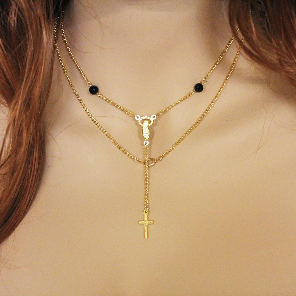 Long Gold Religious Rosary Necklace