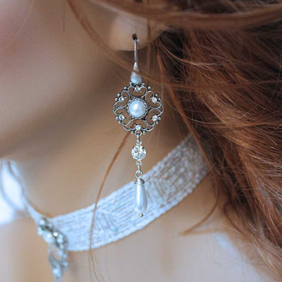 Long Pearl Bridal Earrings