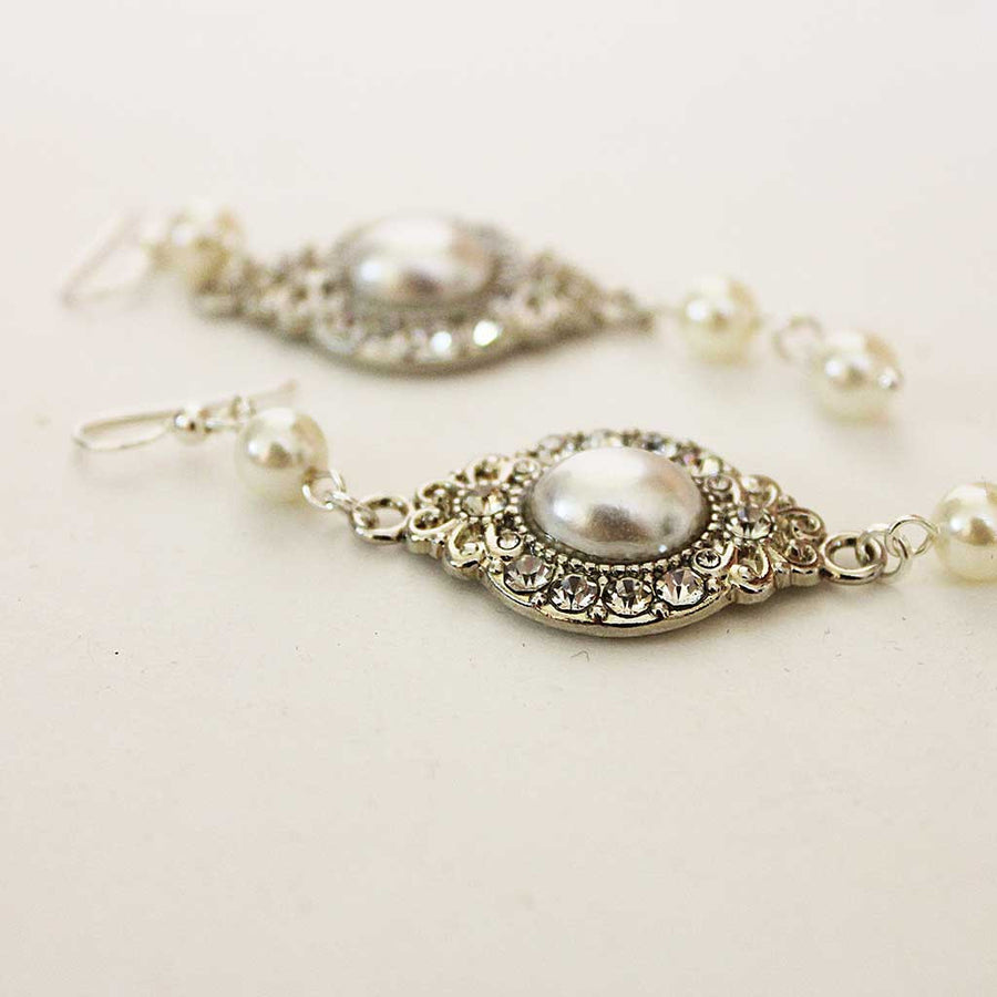 Long Pearl Dangle Earrings