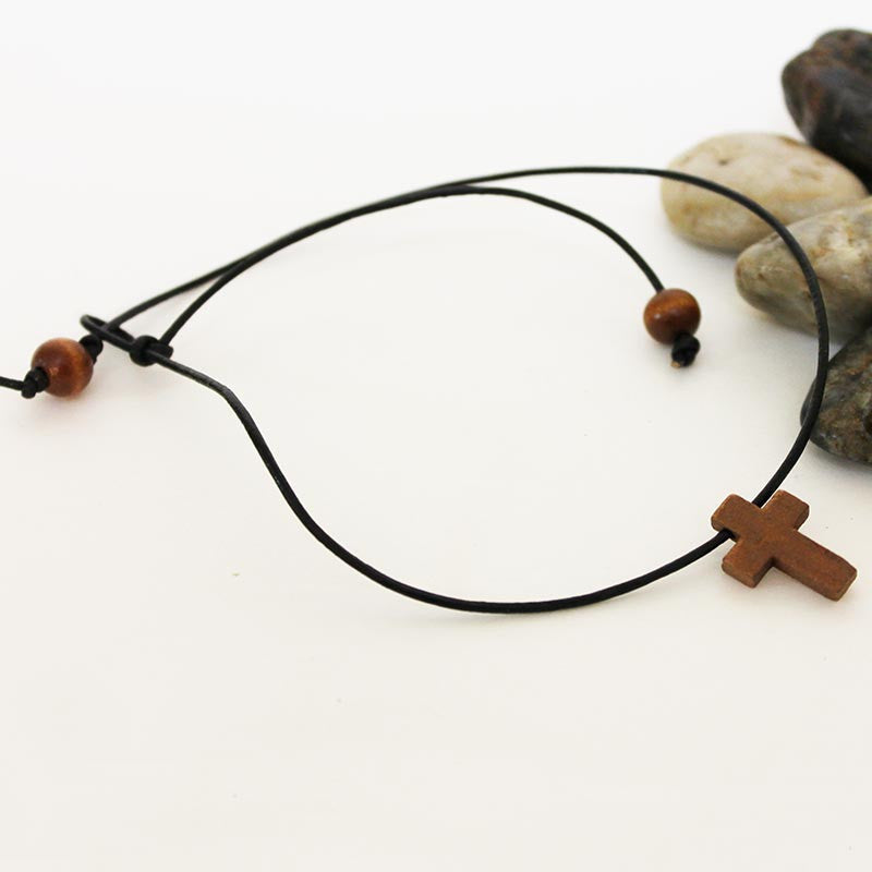 Men's Black Leather Wooden Cross Spiritual Choker Necklace