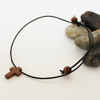 Wooden Cross Choker
