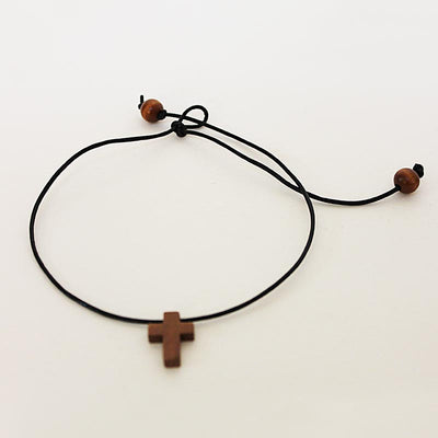 Wooden Cross Choker Necklace