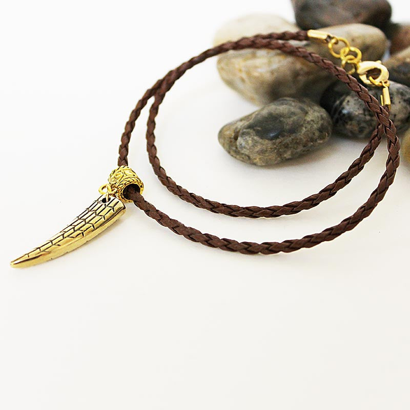 Men's Brown Braided Leather Gold Horn Pendant Choker Necklace