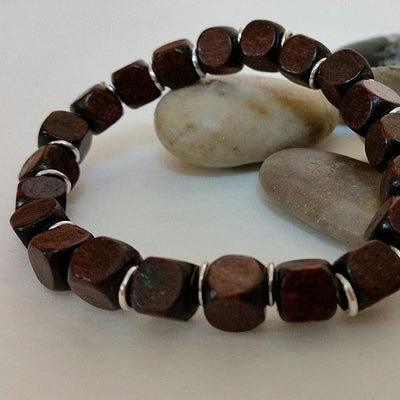 Mens Brown Wood Bead Bracelet
