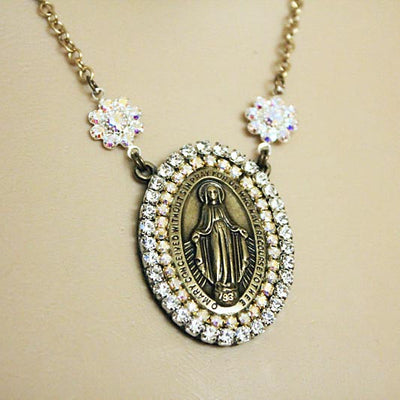 religious vermeil virgin necklace gold pin mary mother a jewelry medal chain catholic tiny on medallion miraculous