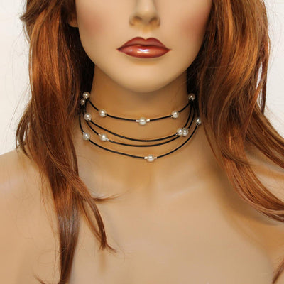 Multi Strand Black Leather Pearl Choker Necklace