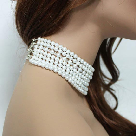 Multi Strand Pearl Crystal Statement Necklace