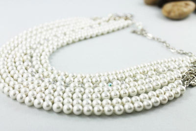 Multi Strand Pearl Crystal Statement Necklace, Special Occasion Bridal Jewellery