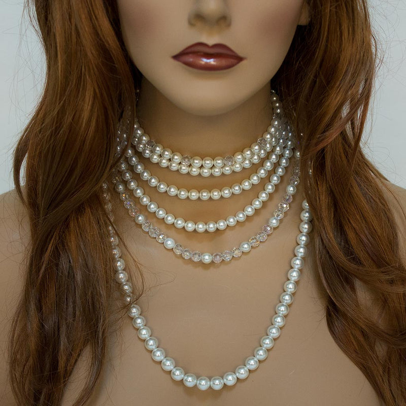Pearl Crystal Multi Strand Bridal Statement Necklace