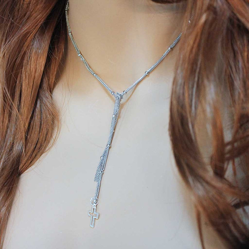 Oxidized Silver Cross Lariat Necklace