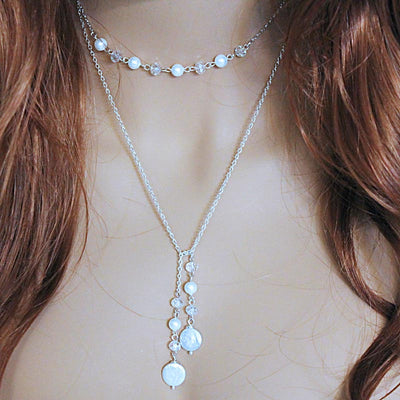Elegant Pearl Lariat Necklace, Bridesmaid Jewelry