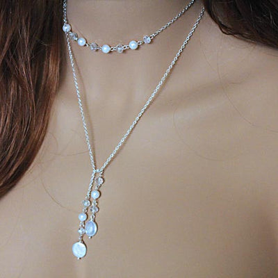 Elegant Pearl Lariat Necklace