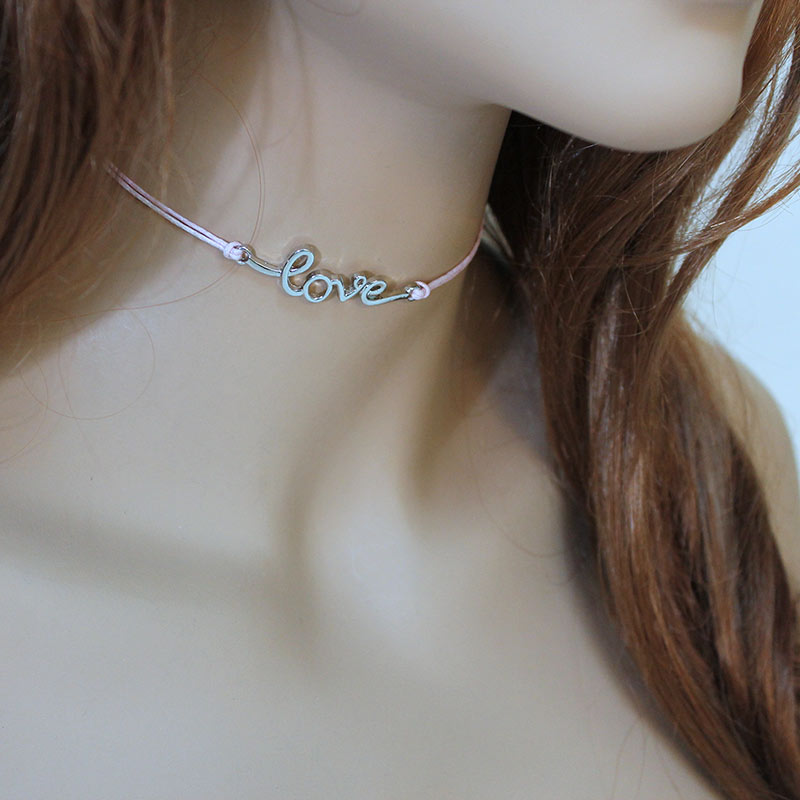 Pink Cord 'Love' Choker Necklace