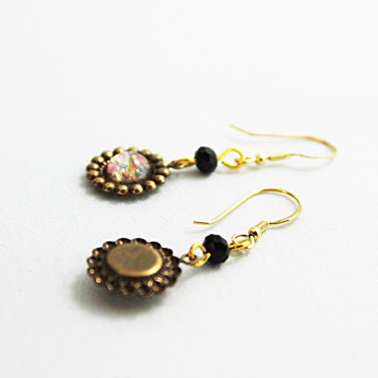 Dainty Gold Brass Victorian Dangle Earrings