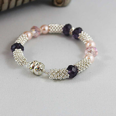 Purple Crystal Pink Pearl Magnetic Clasp Bangle