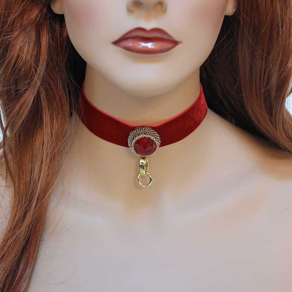 Romantic Victorian Red Velvet Fantasy Choker