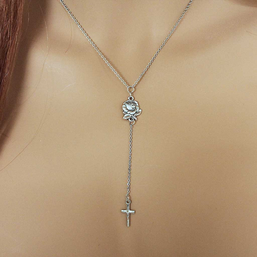Rosebud Religious Cross Necklace