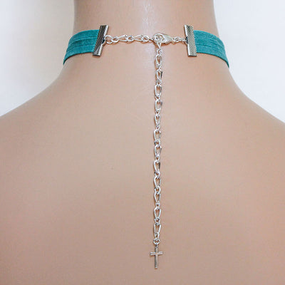 back of green suede choker