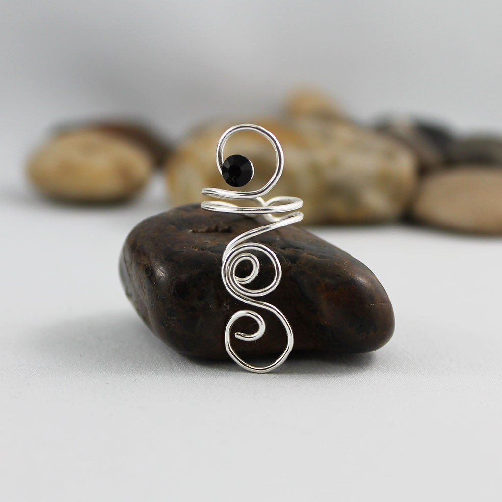 Silver Ring, Adjustable Wire Wrapped Spiral Swirl