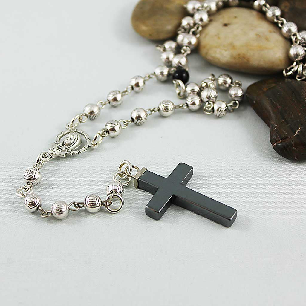Long Silver Beaded Spiritual Rosary Necklace