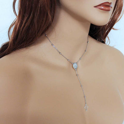 Silver Bead Thin Chain Rosary Necklace