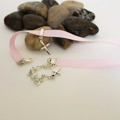 Silver Cross Pink Ribbon Choker Necklace