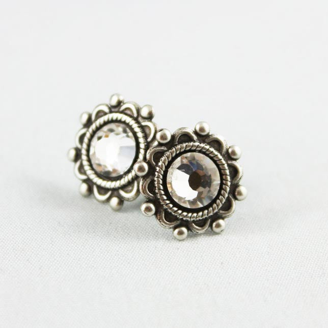 Crystal Oxidized Silver Small Post Earrings